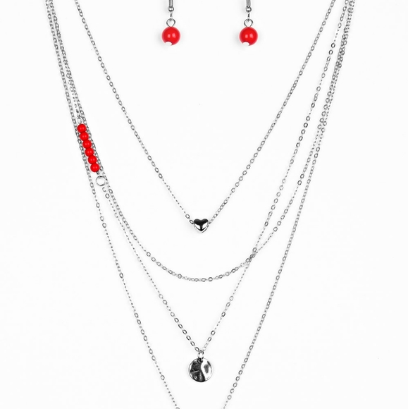 Necklace and earrings red and Heart NEW